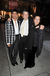 Left to right, artist RAQIB SHAW, SIR NORMAN ROSENTHAL and his wife Manuela Mena Marquez attend the private view of Anish Kapoor's latest exhibition at the Royal Academy of Arts, Piccadilly, London on 22nd September 2009