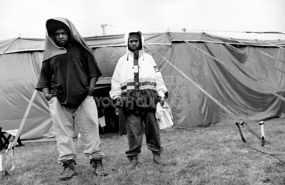 Two members of US hip hop group The Roots, Phoenix Festival, Long Marston Airfield, UK 1990's