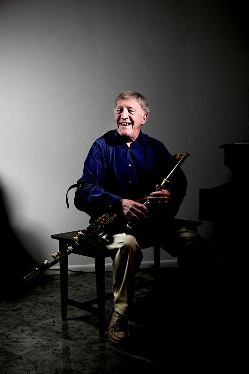 Paddy Moloney, one of the founders of the Irish musical group, The Chieftains, practices his Uilleann (elbow) pipes at his home in Naples, Fla. on Jan. 30, 2012.