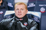 Bolton Wanderers First Team Manager Neil Lennon during the Sky Bet Championship match between Bolton Wanderers and Brentford at the Macron Stadium, Bolton, England on 30 November 2015. Photo by Simon Davies.