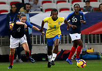 "International Women's Friendly Matchs 2018 / <br /> France v Brazil 3-1 ( Allianz Riviera Stadium - Nice,France ) - <br /> Miraildes Mota "" Formiga "" of Brazil (R) ,challenge with Elise Bussaglia of France (L)"
