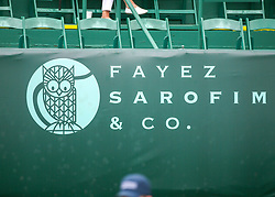 April 13, 2018 - Houston, TX, U.S. - HOUSTON, TX - APRIL 13:  Sponsorship signage covers the back of center court during the Quarterfinal round of the Men's Clay Court Championship on April 13, 2018 at River Oaks Country Club in Houston, Texas.  (Photo by Leslie Plaza Johnson/Icon Sportswire) (Credit Image: © Leslie Plaza Johnson/Icon SMI via ZUMA Press)