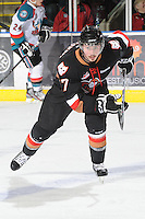 KELOWNA, CANADA, FEBRUARY 17: Rob Trzonkowski #17 of the Calgary Hitmen skates on the ice at the Kelowna Rockets on February 17, 2012 at Prospera Place in Kelowna, British Columbia, Canada (Photo by Marissa Baecker/Shoot the Breeze) *** Local Caption ***