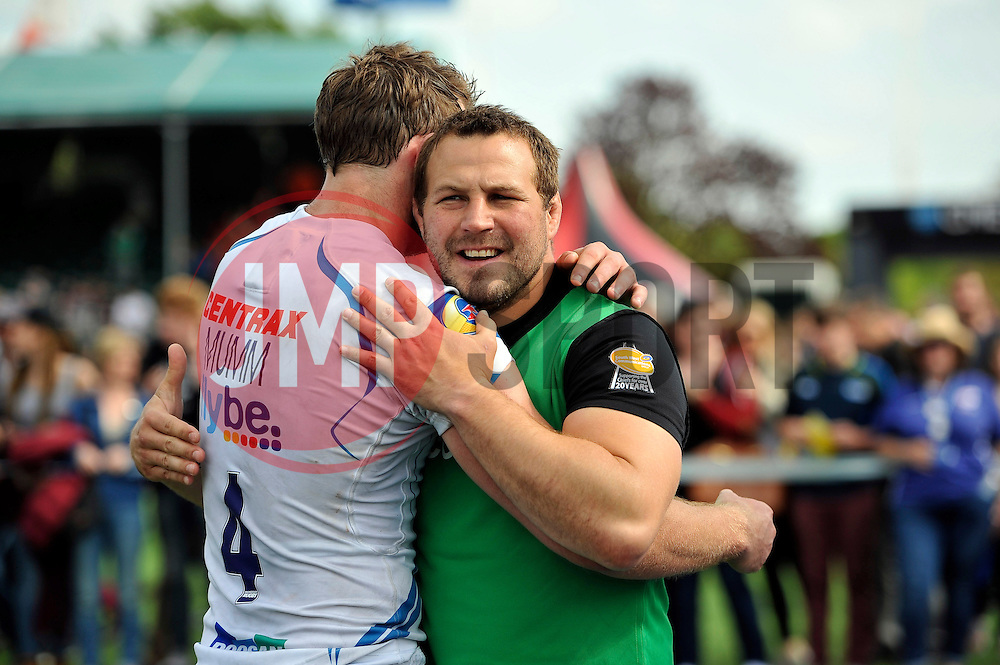 Brett Sturgess of Exeter Chiefs celebrates with team-mate Dean Mumm after the match - Photo mandatory by-line: Patrick Khachfe/JMP - Mobile: 07966 386802 10/05/2015 - SPORT - RUGBY UNION - London - Allianz Park - Saracens v Exeter Chiefs - Aviva Premiership