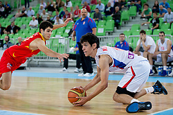 Nenad Miljenovic of Serbia and Alejandro Abrines of Spain during basketball match between National teams of Serbia and Spain in for third place match of U20 Men European Championship Slovenia 2012, on July 22, 2012 in SRC Stozice, Ljubljana, Slovenia. Spain defeated Serbia 67:66. (Photo by Matic Klansek Velej / Sportida.com)