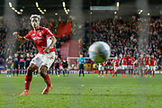 PENALTIES Charlton Athletic forward Lyle Taylor (9) takes his penalty during the EFL Sky Bet League 1 second leg Play-Off match between Charlton Athletic and Doncaster Rovers at The Valley, London, England on 17 May 2019.