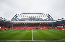 LIVERPOOL, ENGLAND - Sunday, December 12, 2015: View inside Anfield Stadium looking towards the Main Stand, as work continues on the multi-million pound revamp ahead of Liverpool's fixture against West Bromwich Albion in the Premier League. (Pic by David Rawcliffe/Propaganda)