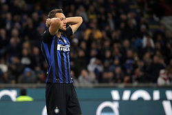 October 21, 2018 - Milan, Milan, Italy - Stefan De Vrij #6 of FC Internazionale Milano reacts to a missed chance during the serie A match between FC Internazionale and AC Milan at Stadio Giuseppe Meazza on October 21, 2018 in Milan, Italy. (Credit Image: © Giuseppe Cottini/NurPhoto via ZUMA Press)