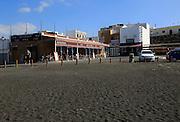 Cafe by black sand beach at Ajuy, Fuerteventura, Canary Islands, Spain
