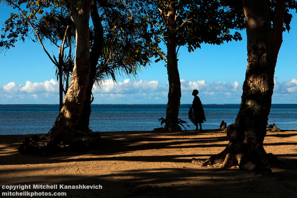 Woman by the shore at the tip of Uleveo/ Maskelyne Island, Malampa Province, Malekula, Vanuatu