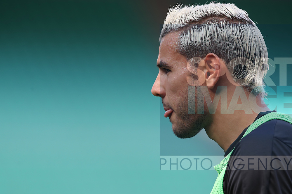 AC Milan's French defender Theo Hernandez sporting a new hair colouring during the Serie A match at Giuseppe Meazza, Milan. Picture date: 28th June 2020. Picture credit should read: Jonathan Moscrop/Sportimage