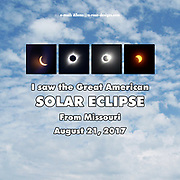 A series from the total solar eclipse on August 21, 2017 with a background of the sky just before the first picture in the series as the clouds were breaking up, with text