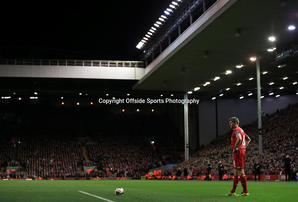 26th March 2014 - Barclays Premier League - Liverpool v Sunderland - Steven Gerrard of Liverpool prepares to take a free kick at Anfield - Photo: Simon Stacpoole / Offside.