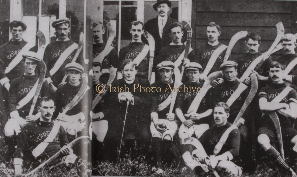 Kilkenny (Mooncoin)-All-Ireland Hurling Champions 1907. Back Row: Jack Keoghan, Jack Rochfort, Tom Kenny, Dan Stapleton, Danny O'Connell, PAddy &quot;Icy&quot; Lannigan, John T Power, Dick Brennan, Sim Walton. Middle Row: Eddie Doyle, Dick Doherty, Mick Doyle, Rev J B Dollard, R &quot;Drug&quot; Walsh (capt), Jim Kelly, Dick Doyle, Dan Kennedy. Front Row: Matt Gargan, Jack Anthony. Dick Brennan did not play in final. Dan Grace was absent for photograph. galic football,<br />
