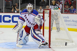 Sep 16, 2013; Newark, NJ, USA; New York Rangers goalie Henrik Lundqvist (30) watches the puck go wide of his net during the second period of their game against the New Jersey Devils at Prudential Center.