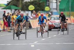 CELEN Tim, T2, BEL, Cycling, Road Race, VONDRACEK David, CZE, HILLS Stephen, NZL à Rio 2016 Paralympic Games, Brazil
