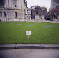 Keep off the grass sign at Belfast City Hall in Northern Ireland