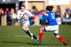 Sarah McKenna of England Women takes on Gabrielle Vernier of France Women  - Mandatory by-line: Robbie Stephenson/JMP - 10/02/2019 - RUGBY - Castle Park - Doncaster, England - England Women v France Women - Women's Six Nations