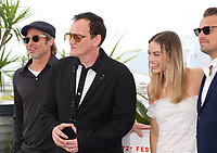 Brad Pitt, Director Quentin Tarantino, Margot Robbie and Leonardo DiCaprio at Once Upon A Time... In Holywood film photo call at the 72nd Cannes Film Festival, Wednesday 22nd May 2019, Cannes, France. Photo credit: Doreen Kennedy