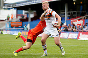 Bradford Bulls loose forward Damian Sironen (10) is tackled during the Kingstone Press Championship match between Sheffield Eagles and Bradford Bulls at, The Beaumont Legal Stadium, Wakefield, United Kingdom on 3 September 2017. Photo by Simon Davies.
