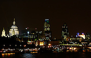 London by night - St Paul's Cathedral, Swiss Re Building (the Gherkin) Tower 42 (centre), Lloyd's Building - England