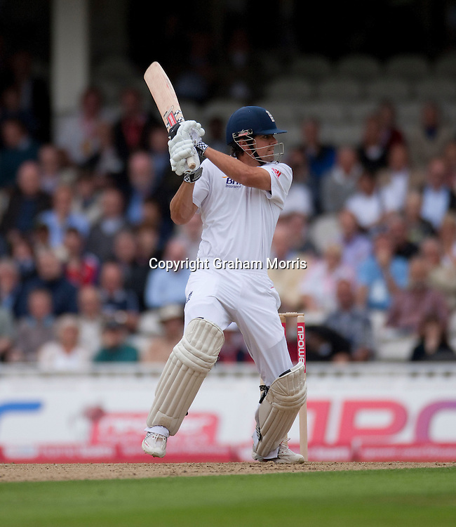 Alastair Cook bats during the fourth and final npower Test Match between England and India at the Oval, London.  Photo: Graham Morris (Tel: +44(0)20 8969 4192 Email: sales@cricketpix.com) 18/08/11