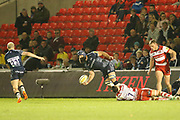 J Strauss feeds J O'Connor during the Aviva Premiership match between Sale Sharks and Gloucester Rugby at the AJ Bell Stadium, Eccles, United Kingdom on 29 September 2017. Photo by George Franks.