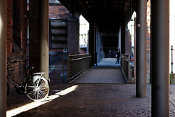 GERMANY HAMBURG 30DEC13 - A bicycle and a walkway in Hamburg's Hafen City.<br /> <br /> <br /> <br /> jre/Photo by Jiri Rezac<br /> <br /> <br /> <br /> © Jiri Rezac 2013