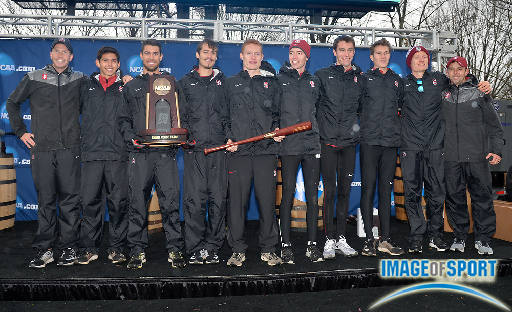 Nov 21, 2015; Louisville, KY, USA; Stanford men and coach Chris Miltenberg pose after placing third in the team standings during the 2015 NCAA cross country championships at Tom Sawyer Park. Mandatory Credit: Kirby Lee-USA TODAY Sports
