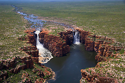 Wet season aerial view of King George Falls on the east Kimberley coast.