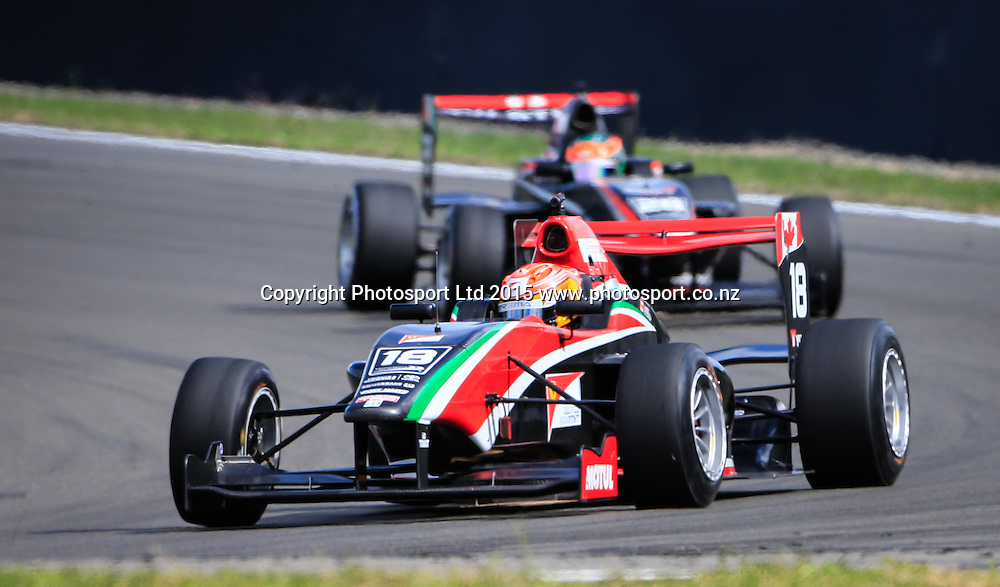 Lance Stroll leads the field in the New Zealand Grand Prix -Toyota Racing Series, Manfeild Motorsport Park, Feidling, New Zealand. Sunday, 15 February, 2015. Photo: John Cowpland / www.photosport.co.nz