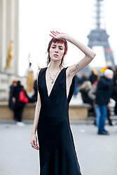 Street style, model Teddy Quinlivan after Haider Ackermann Fall-Winter 2018-2019 show held at Palais de Chaillot, in Paris, France, on March 3rd, 2018. Photo by Marie-Paola Bertrand-Hillion/ABACAPRESS.COM