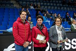 HEINZE Sebastian (Bundestrainer Dressur U25), THEODORESCU Monica (Bundestrainer Dressur), EISENHARD Evi (Dressurrichter)<br /> Stuttgart - German Masters 2018<br /> Siegerehrung<br /> Grand Prix de Dressage<br /> Piff Förderpreis Finalprüfung<br /> 16. November 2018<br /> © www.sportfotos-lafrentz.de/Stefan Lafrentz