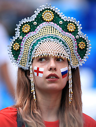 A fan in face paint during the FIFA World Cup Group G match at the Nizhny Novgorod Stadium.