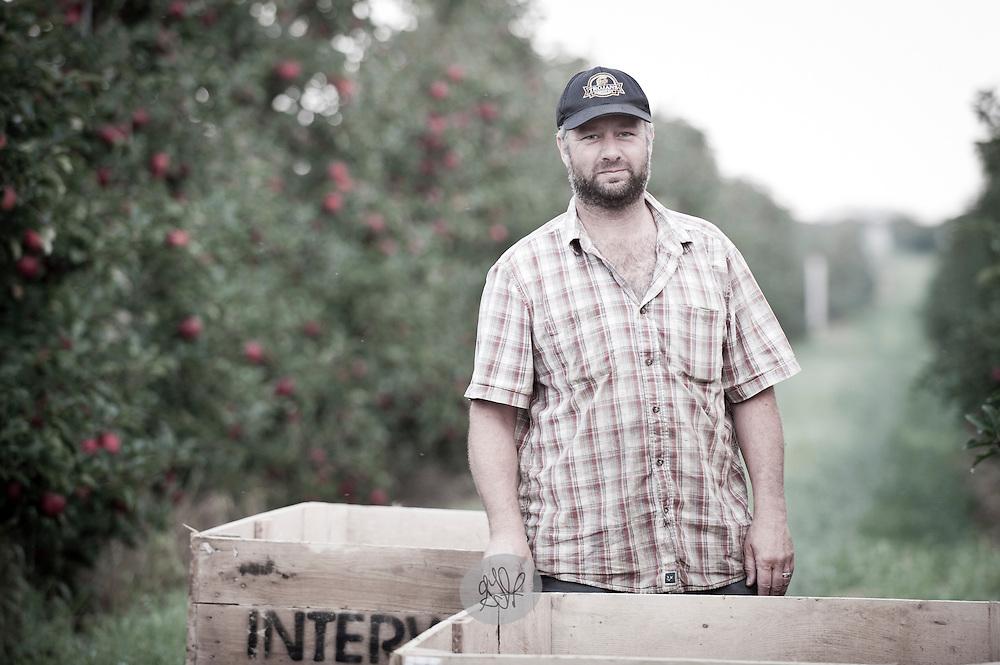 Farmer John White in his family's Gala orchard in Acme Township, Michigan.