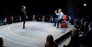 Future Conditional <br /> by Tamsin Oglesby<br /> directed by Matthew Warchus<br /> at The Old Vic Theatre, London, Great Britain, London, Great Britain<br /> 4th September 2015 <br /> <br /> Nikki Patel as Alia<br /> Rob Brydon as Crane<br /> <br /> and company:<br /> <br /> Matthew Aubrey, Louisa Beadel, Lucy Briggs-Owen, Alex Clatworthy, Peta Cornish, Natasha Cottriall, Amy Dawson, Jennifer English, Sam Jenkins-Shaw, Natalie Klamar, Carla Langley, Ben Lloyd-Hughes, Louis Martin, Joshua McGuire, Sukh Ojla, Bill Parfitt, Nikki Patel, Howard Perret, Sandra Reid, Sofia Stuart, Eleanor Sutton, Brian Vernel and Carmen Vandenberg. <br /> <br /> <br /> Photograph by Elliott Franks <br /> Image licensed to Elliott Franks Photography Services