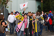 LOS ANGELES, CA - MARCH 22: Fans of Japan get fired up in the parking lot before their team plays against USA in game two of the semifinal round of the 2009 World Baseball Classic at Dodger Stadium in Los Angeles, California on Sunday March 22, 2009. Japan defeated USA 9-4. (Photo by Paul Spinelli/WBCI/MLB Photos)