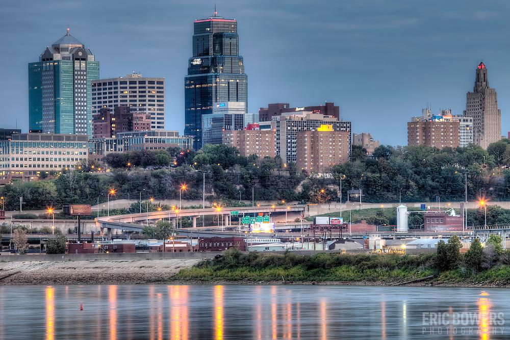 View at dusk of Kansas City Missouri skyline from Kaw Point Park in Kansas City, Kansas.