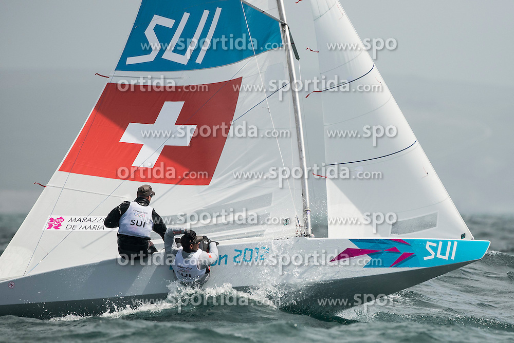 02.08.2012, Bucht von Weymouth, GBR, Olympia 2012, Segeln, im Bild ..Marazzi Flavio, De Maria Enrico, (SUI, Star) // during Sailing, at the 2012 Summer Olympics at Bay of Weymouth, United Kingdom on 2012/08/02. EXPA Pictures © 2012, PhotoCredit: EXPA/ Juerg Kaufmann ***** ATTENTION for AUT, CRO, GER, FIN, NOR, NED, POL, SLO and SWE ONLY!