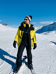 """Joe Jonas releases a photo on Twitter with the following caption: """"""""Longest run I've ever done ✅ beautiful mountain. Must come back! Thanks @Dsquared2 for the new gear! 🎿 🏔 🍻"""""""". Photo Credit: Twitter *** No USA Distribution *** For Editorial Use Only *** Not to be Published in Books or Photo Books ***  Please note: Fees charged by the agency are for the agency's services only, and do not, nor are they intended to, convey to the user any ownership of Copyright or License in the material. The agency does not claim any ownership including but not limited to Copyright or License in the attached material. By publishing this material you expressly agree to indemnify and to hold the agency and its directors, shareholders and employees harmless from any loss, claims, damages, demands, expenses (including legal fees), or any causes of action or allegation against the agency arising out of or connected in any way with publication of the material."""