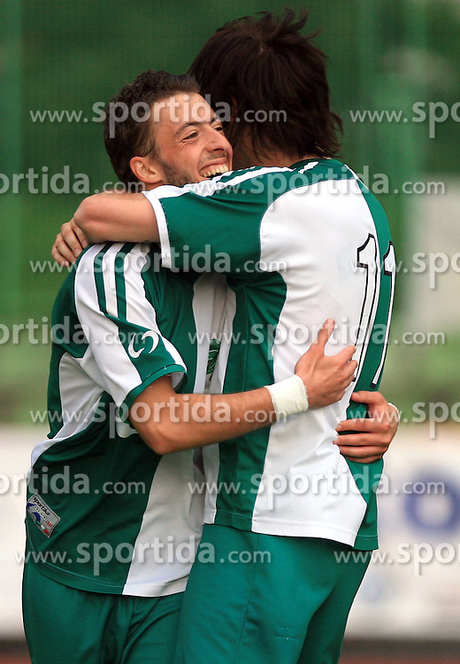 Agim Ibraimi and Miran Pavlin celebrate at football match of 2nd SNL between NK Olimpija Ljubljana and NK Zagorje, on May 03, 2009, in ZAK stadium, Ljubljana, Slovenia. Olimpija won 9:0 and 4 Rounds before the end won the 1st place in 2nd SNL. Next year they will play in First Slovenian League. (Photo by Vid Ponikvar / Sportida)