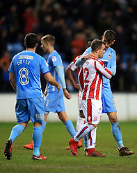 6 January 2018 -  The FA Cup - 3rd Round - Coventry City v Stoke City - Xherdan Shaqiri of Stoke City is consoled by Chris Stokes of Coventry City after the defeat - Photo: Marc Atkins/Offside