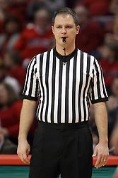 17 January 2015:   Referee Gene Grimshaw during an NCAA MVC (Missouri Valley Conference men's basketball game between the Bradley Braves and the Illinois State Redbirds at Redbird Arena in Normal Illinois