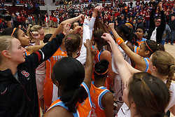 Dec 20, 2011; Stanford CA, USA;  The Tennessee Lady Volunteers and Stanford Cardinal meet at mid court after the game at Maples Pavilion.  Stanford defeated Tennessee 97-80. Mandatory Credit: Jason O. Watson-US PRESSWIRE