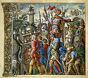 The triumph of Julius Caesar,  Andrea Andreani (1540-1623) Italian wood engraver.  Plate 6 from his 'Triumphus Caesari' c1598, after Andrea Mantegna (1431-1506) Italian artist. Trophies being carried in procession.