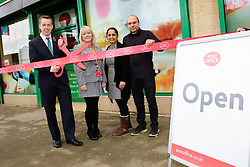 Pictured is Tom Pursglove MP, left, cutting the ribbon to officially open Weldon Post Office.  Also pictured, from left, Karen Coles (Post Office network operations manager) and Devyani and Biren Tailor.<br /> <br /> Tom Pursglove MP has officially opened the new Post Office at the Weldon Supermarket in Weldon.<br /> <br /> Date: November 10, 2017