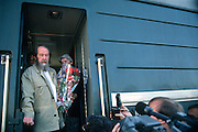 Russian Nobel prize novelist Alexander Solzhenitsyn looks out at gathered crowds after arriving by train returning to his homeland June 5, 1994 in Khabarovsk, Russia. Solzhenitsyn was expelled from the Soviet Union in 1974 but returned after the fall of the Soviet Union.
