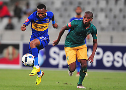 Cape Town--180401  Cape Town City midfielder Bradley Ralani  challenged by Danny Venter  of Golden Arrows in a PSL game at the Cape Town Stadium. .Photographer;Phando Jikelo/African News Agency/ANA