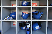 LOS ANGELES, CA - JUNE 17:  Batting helmets are stored in a dugout bin during batting practice before the Los Angeles Dodgers game against the Colorado Rockies at Dodger Stadium on Tuesday, June 17, 2014 in Los Angeles, California. The Dodgers won the game 4-2. (Photo by Paul Spinelli/MLB Photos via Getty Images)