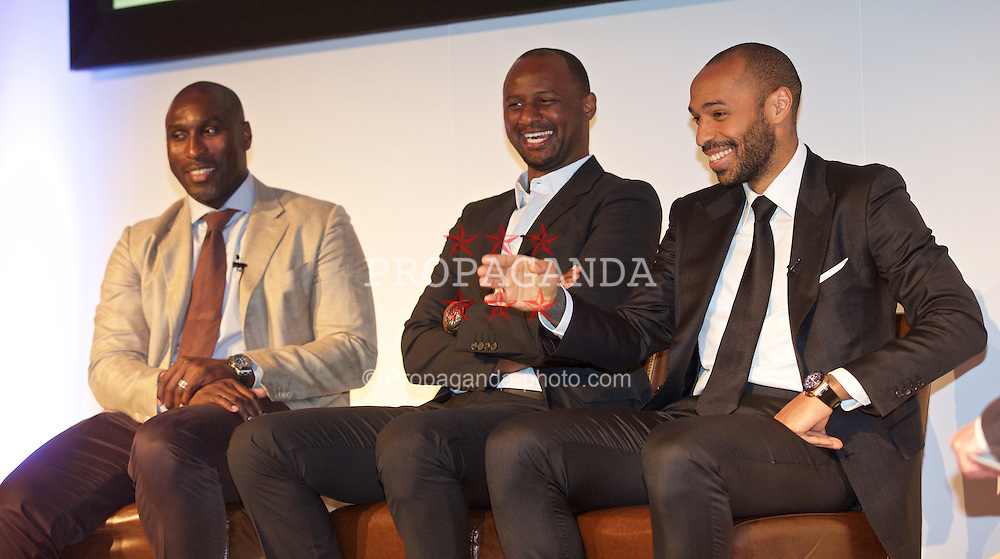 NEWPORT, WALES - Friday, May 29, 2015: Arsenal legends Sol Campbell, Patrick Vieira and Thierry Henry during the Football Association of Wales' National Coaches Conference 2015 at the Celtic Manor Resort. (Pic by David Rawcliffe/Propaganda)